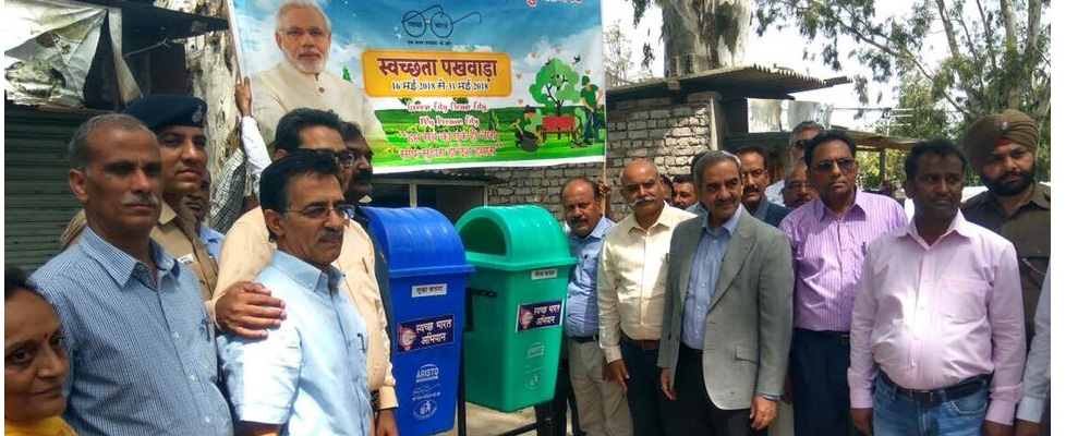 Er.D.K.Sharma, Chairman, BBMB promotes biodegradable waste dustbins and plastic/metal waste dustbins at BSL project, Sundarnagar during SwachhtaPakhwada 2018