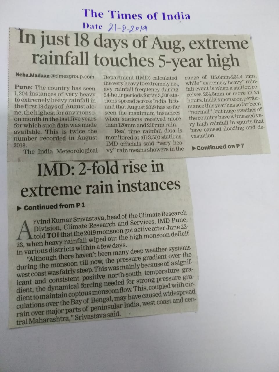 In just 18 days of Aug, extreme rainfall touches 5-year high- IMD: 2-fold rise in extreme rain instances.