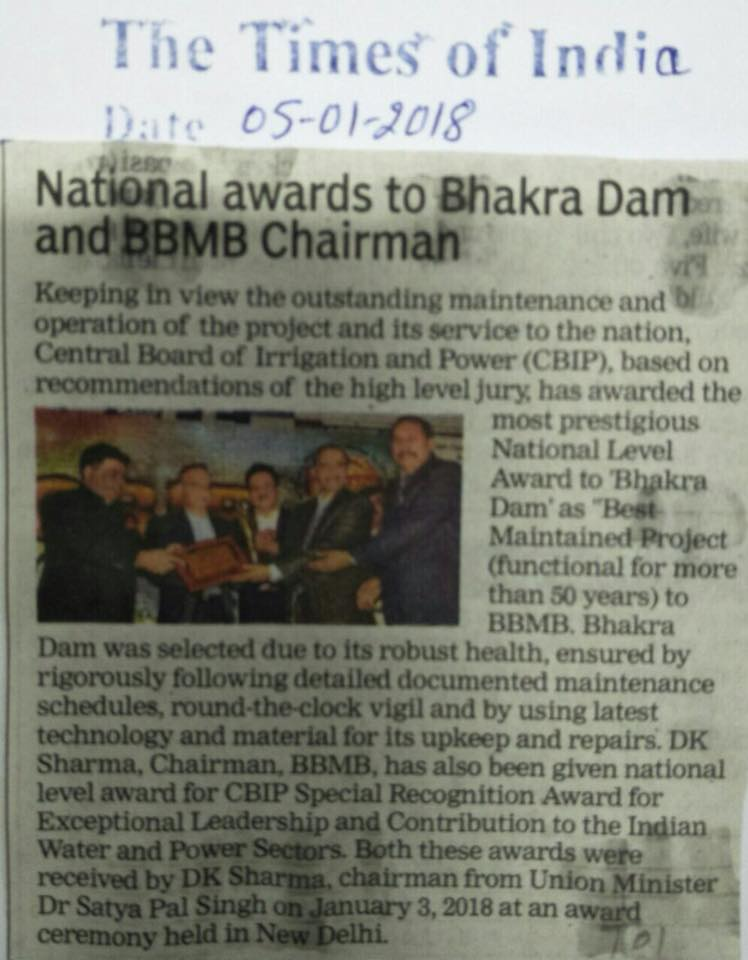 "Shri D.K.Sharma Chairman BBMB conferred with ""National Level Award For Special Recognition & Contribution to the Indian Water & Power Sectors""on 03.01.2018."