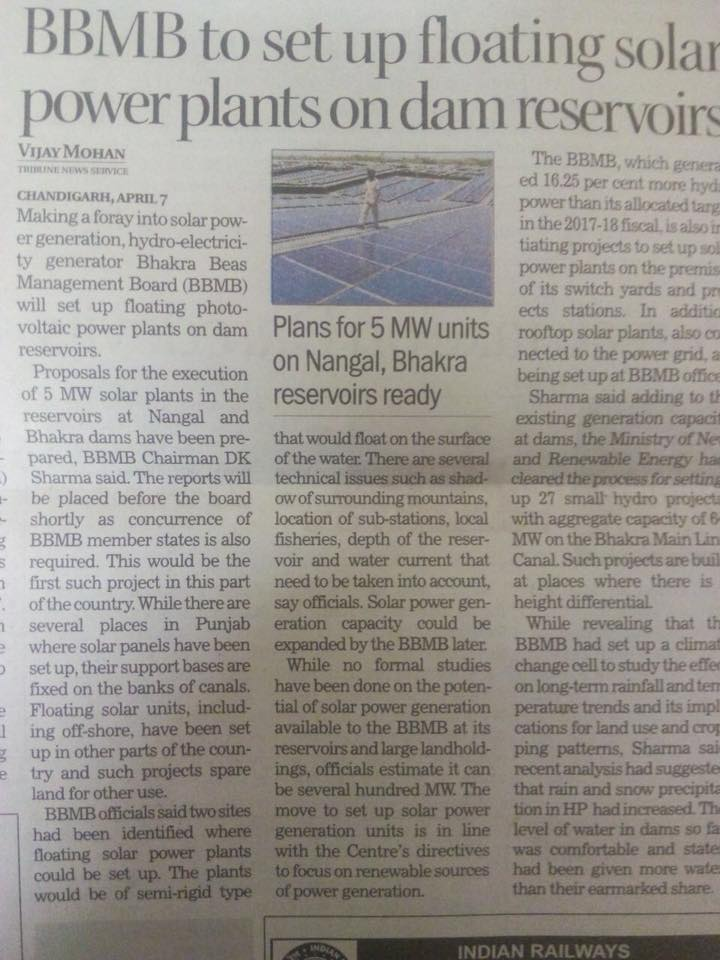 BBMB to set up Floating Solar Power Plants on Dam Reservoirs.