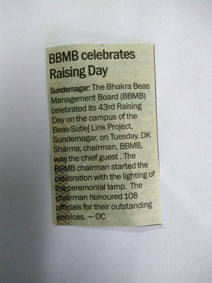 "Er.D.K.Sharma,Chairman, BBMB honoured 108 employees for their outstanding work on ""BBMB 43rd Raising Day"" celebrated at BSL Project, Sundernagar on 15th May,2018."