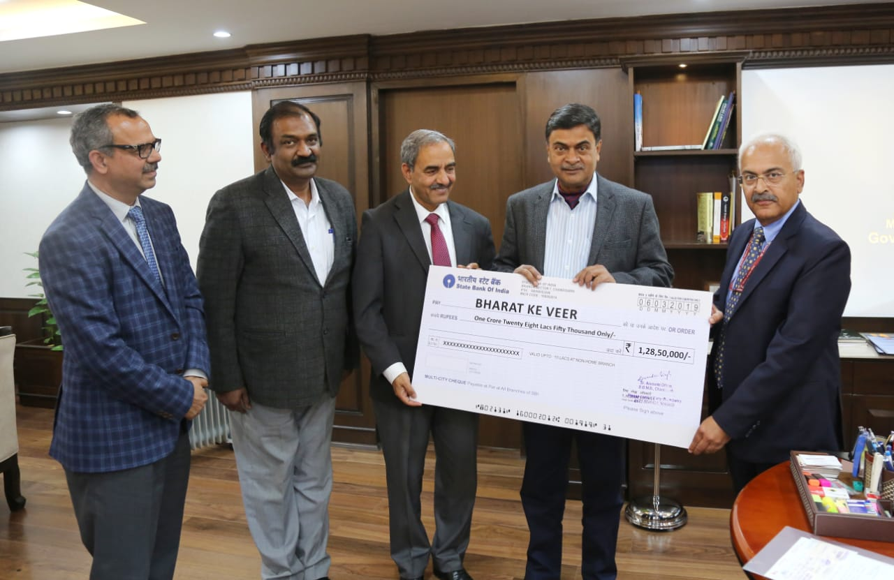 BBMB contributed Rs.1,28,50,000/- for towards families of the martyred soldiers during Pulwama attack