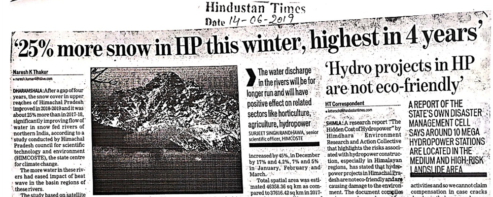 25% more snow in HP this winter, highest in 4 years.