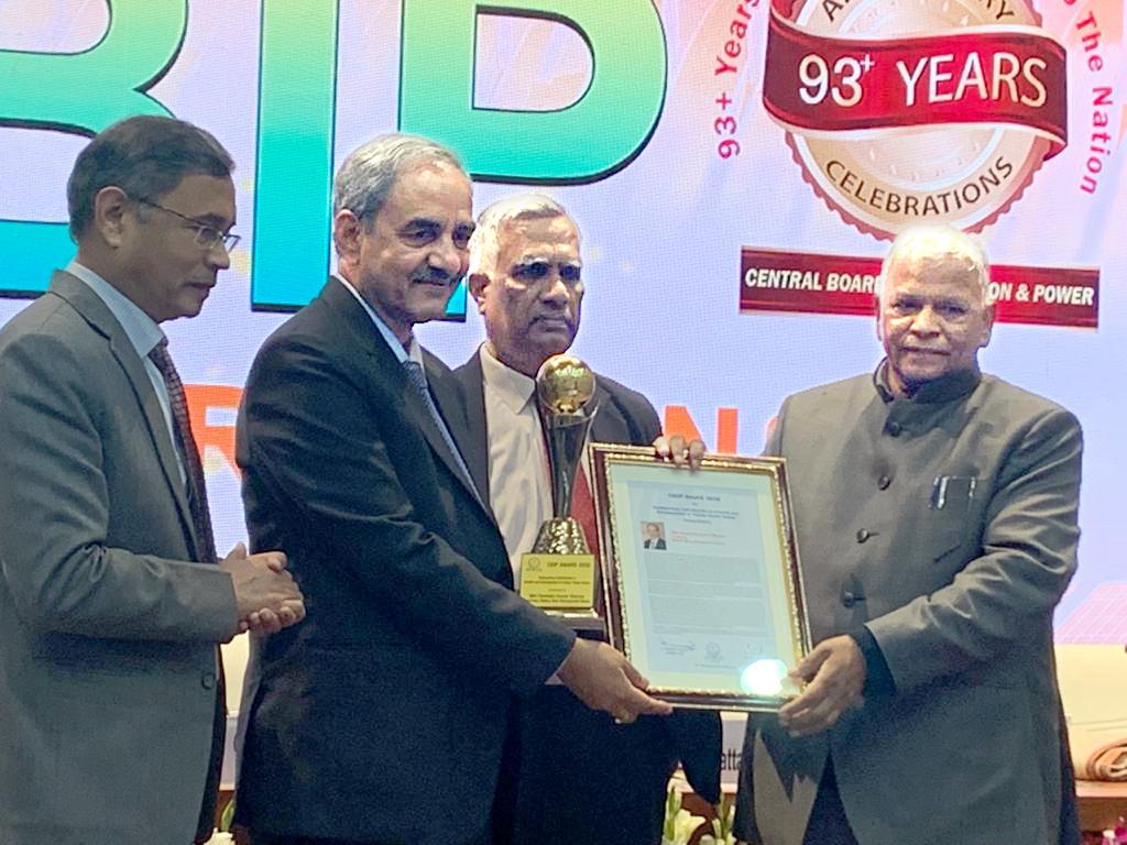 भाखड़ा बांध तथा श्री डी. के. शर्मा, अध्यक्ष, बीबीएमबी को सीबीआईपी पुरस्कार