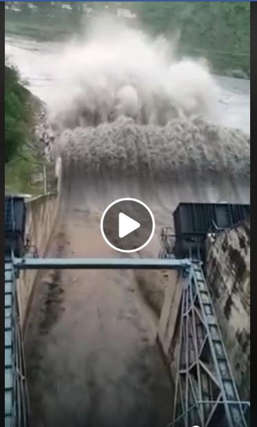 All five spillways under operation in Pandoh Dam...